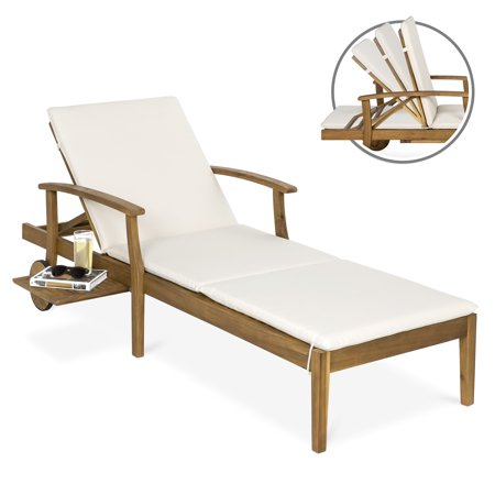 Wood Outdoor Lounge Chair (Best Choice Products 79x30in Acacia Wood Chaise Lounge Chair Recliner, Outdoor Furniture for Patio & Poolside w/ Slide-Out Side Table, Foam-Padded Cushion, Adjustable Backrest, Wheels for Portability)