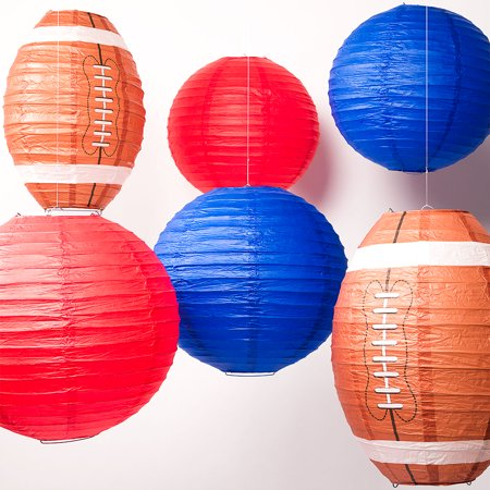 Houston Pro Football Paper Lanterns 6pc Combo Tailgating Party Pack (Red/Navy) - by PaperLanternStore