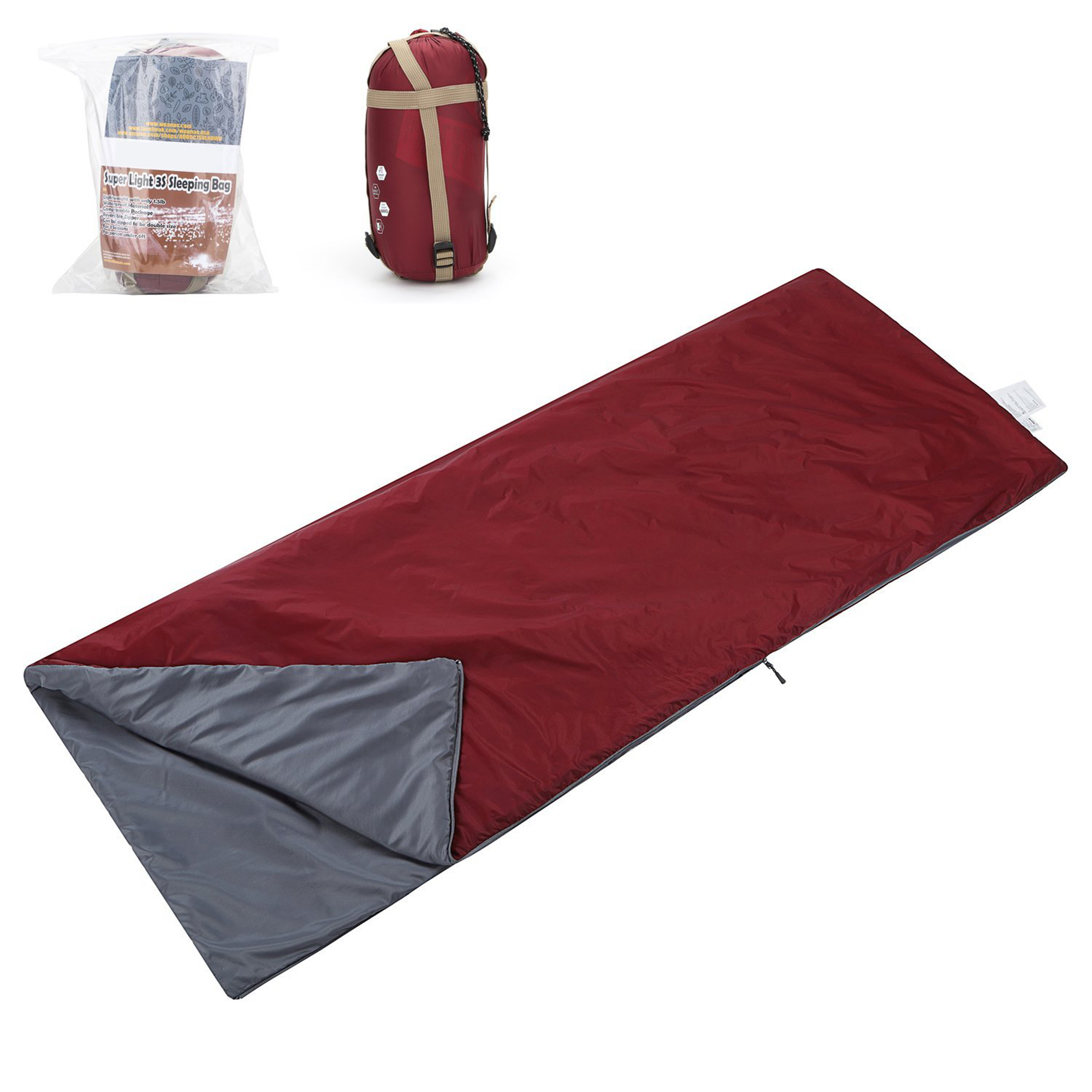 SehrGo Lightweight Compact Outdoor Camping Envelope Sleeping Bag Comfortable Waterproof for Summer School Hiking... by SehrGo