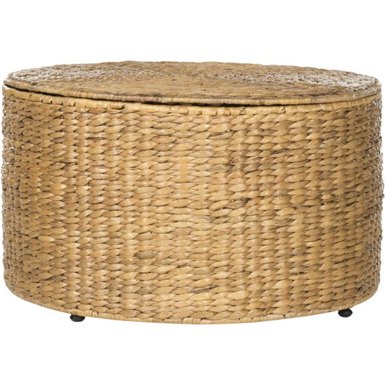 "Round Wicker Coffee Table With Storage: Safavieh Jesse 28.5"" Round Wicker Storage Coffee Table"