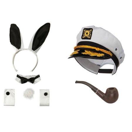 Sailor Ship Yacht Captain Hat Smoking Pipe Playboy Bunny Hugh Hefner Costume Kit for $<!---->