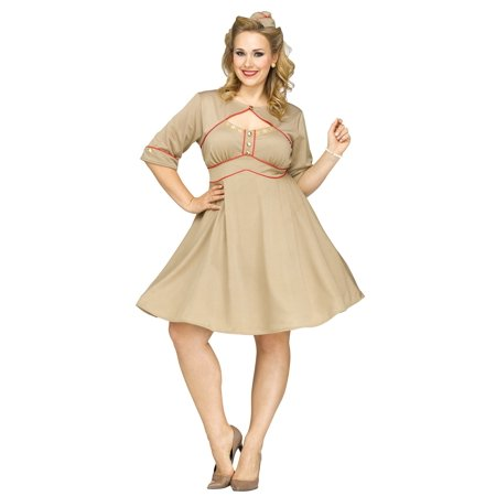 Army Gal Retro Pinup WWII WW2 1940's Nurse  Adult Plus Size Costume 1X - 1940's Couples Costumes