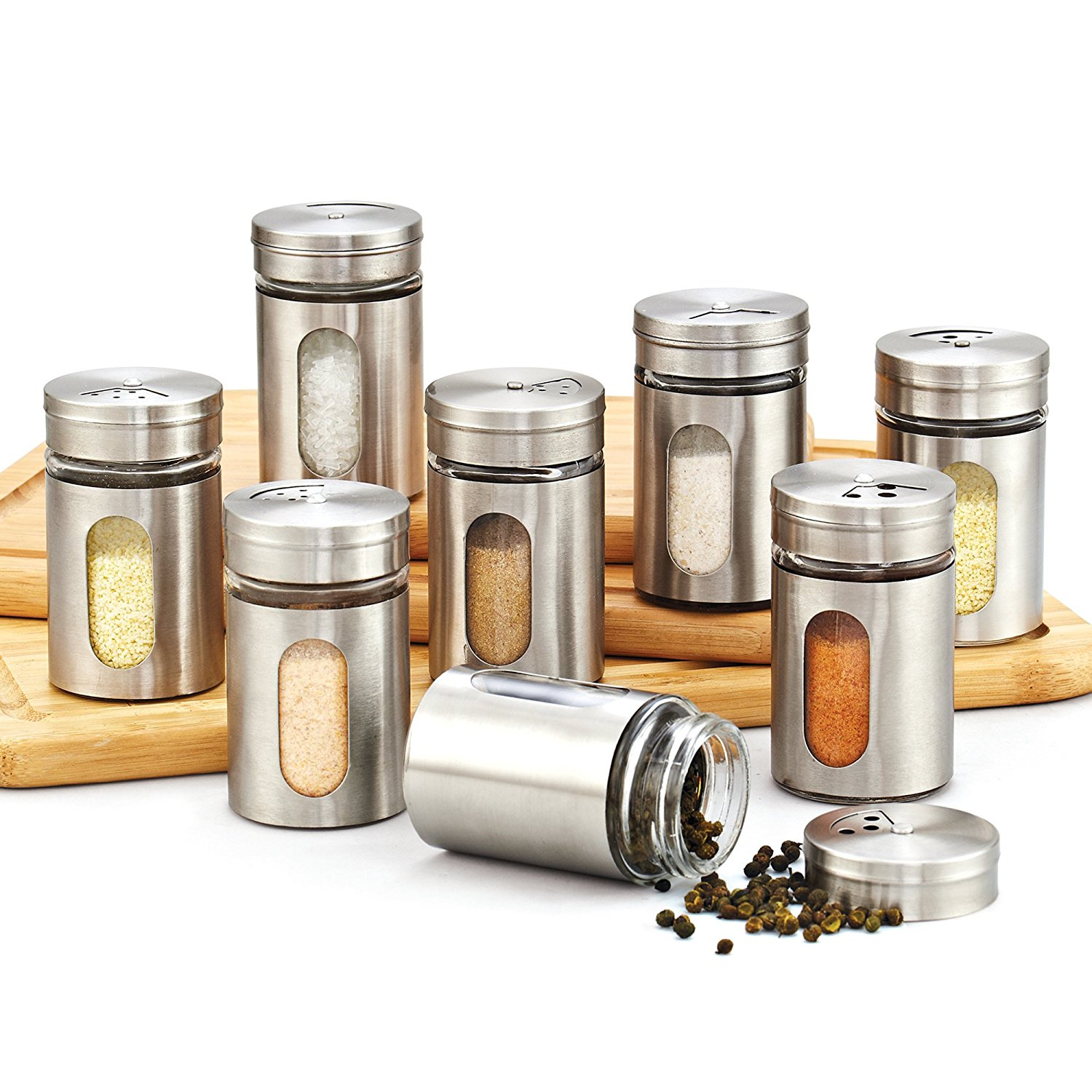 Cook N Home 8-Piece Window Spice Bottle Set with Stainless Steel Cap