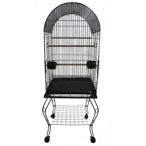 YML 600ABLK 20-Inch Dometop Parrot Cage with Stand, Black