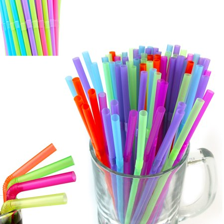 200 Ct Flexible Bendy Long Straws Plastic Party Bar Drinking Supplies Fun Colors