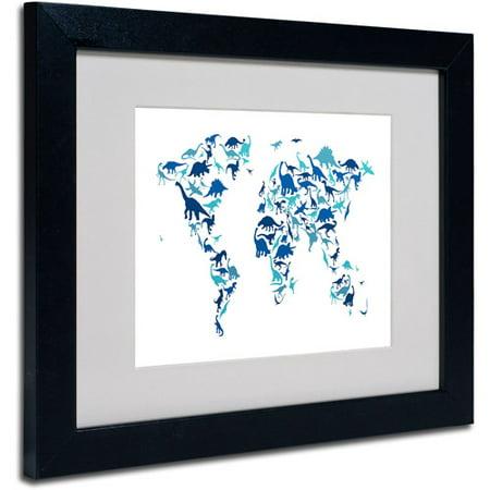 """Trademark Fine Art """"Dinosaur World Map"""" by Michael Tompsett, Black Frame"""