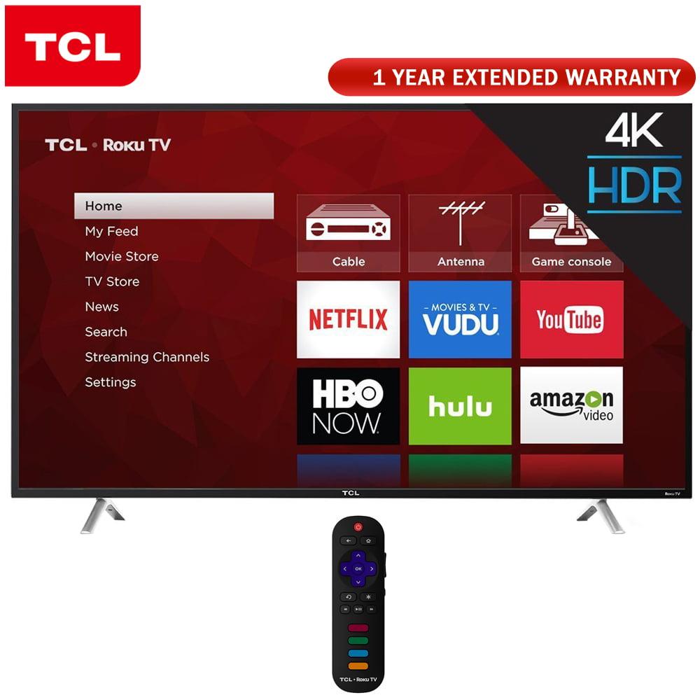 TCL 55-Inch 4K Ultra HD Roku Smart LED TV 2017 Model (55S405) + 1 Year Extended Warranty