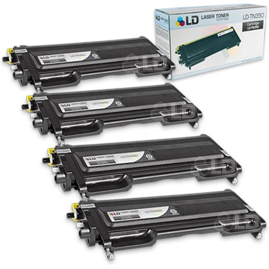 LD Brother Compatible Set of 4 TN350 Black Laser Toner Cartridges for use in Brother DCP 7020, HL 2030, HL 2040, HL