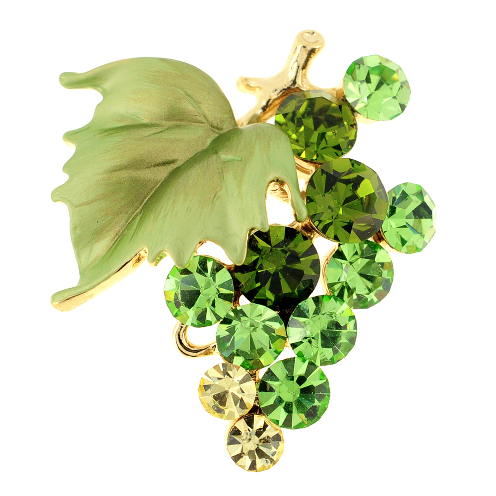 Multi Green Bunch Of Grapes Swarovski Crystal Pin Brooch by