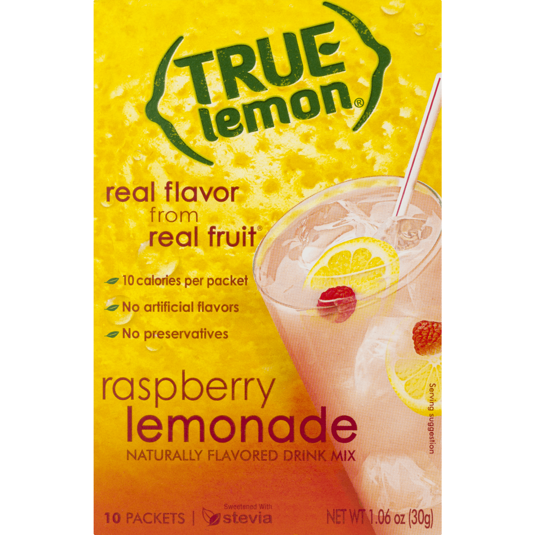 True Lemon Drink Mix, 1.06 Oz, Raspberry, 10 Packets, 1 Box