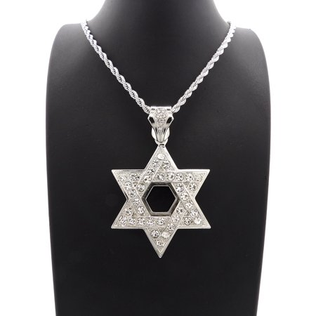 Hip Hop Fashion Iced Out White gold tone Star Of David Pendant w/ 24