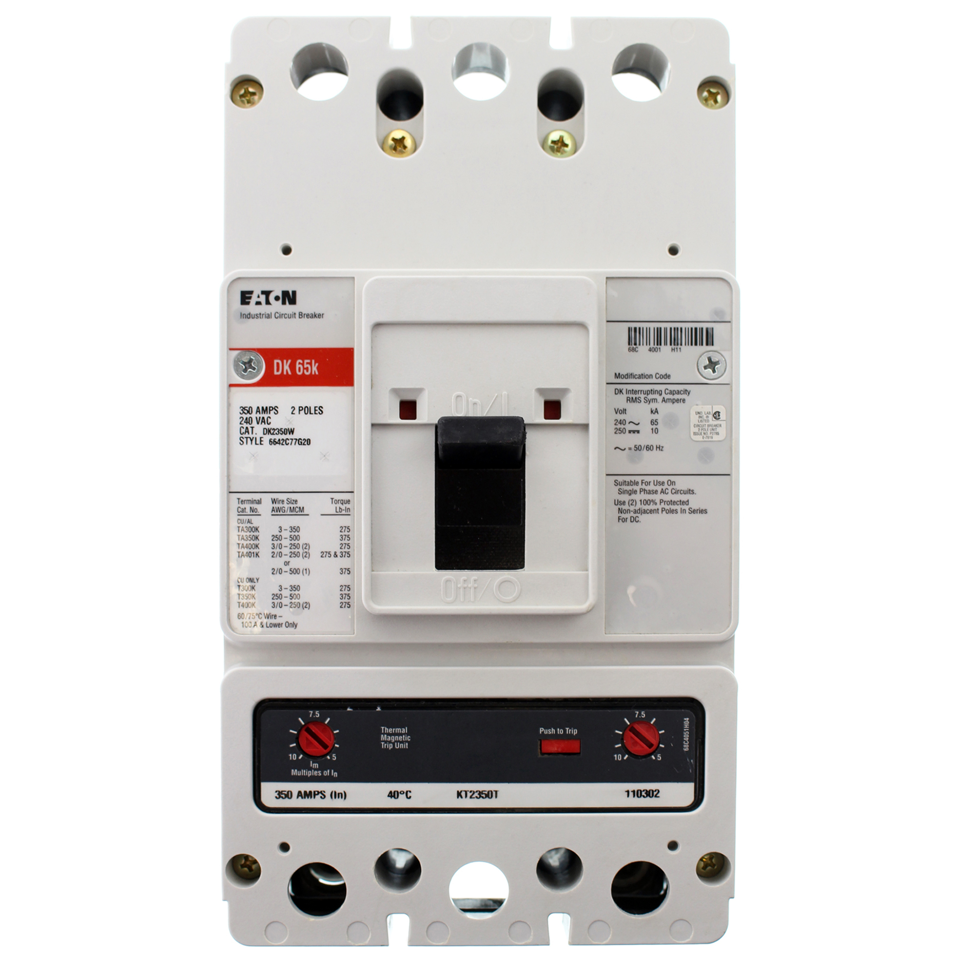 Eaton DK2350W C-Series K-Frame Bolt-On Circuit Breaker, 350A, 240V, 2P, 65kA