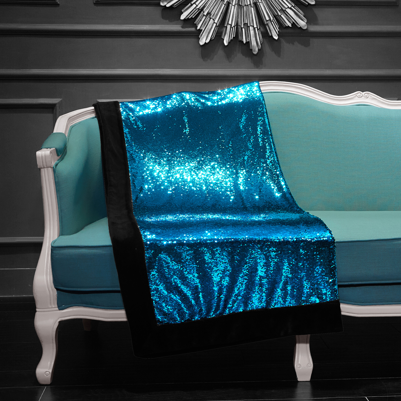 "Turquoise//Silver Reversible Mermaid Sequin Throw-Sparkling 50""x60"" Gorgeous!!"