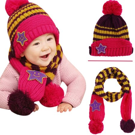 Gifts Are Blue - Little Kids Knitted Winter Beanie Hat and Scarf Set ... f6893cae8db