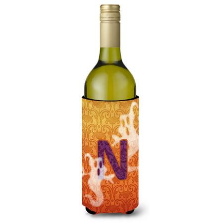 Halloween Ghosts Monogram Initial  Letter N Wine Bottle Beverage Insulator Beverage Insulator - Letter N Halloween