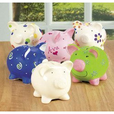 Design your own unglazed ceraminc piggy banks 1 dozen for Make your own piggy bank