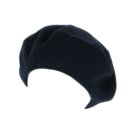 WOOL FRENCH BERET TAM BEANIE SLOUCH HAT CAP, Navy](Tam Hat)