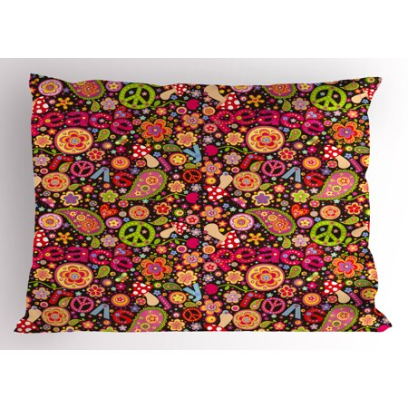 Groovy Mushroom (70s Party Pillow Sham Groovy Peace and Love Composition Hallucinatory Mushrooms Flowers Joyful Vivid, Decorative Standard Size Printed Pillowcase, 26 X 20 Inches, Multicolor, by Ambesonne )
