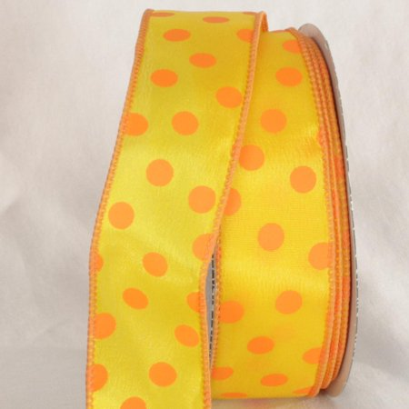 Yellow And Orange Polka Dots Wired Craft Ribbon 1 5 Quot X 40