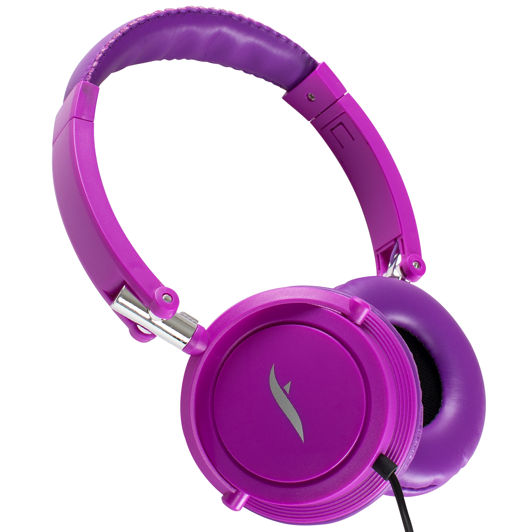 Frisby FHP-910 Portable Compact On-Ear Stereo Headphones w/ In-Line Microphone - Purple