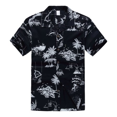 Hawaiian Shirt Aloha Shirt in Black Map](Hawaiian Themed Clothes)