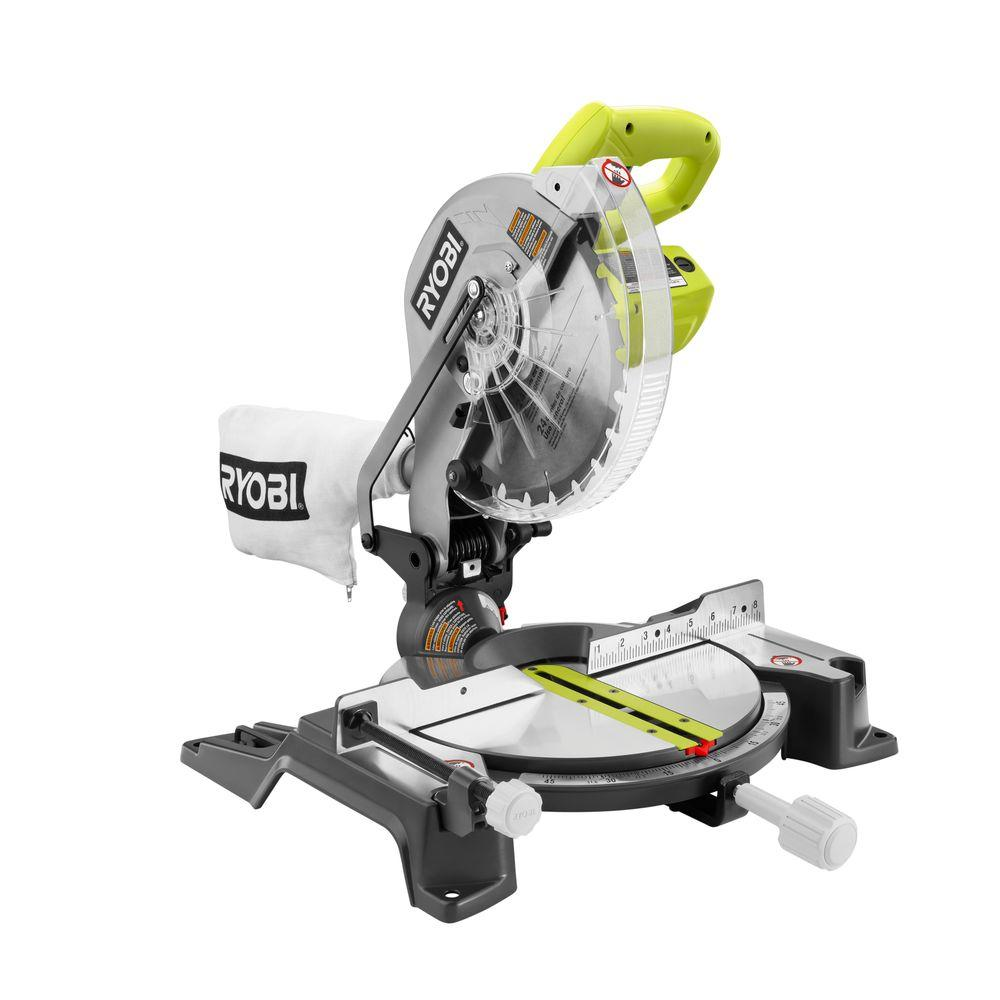 Ryobi Miter Saw 14-Amp Corded 10 in. Compound Stationary ...