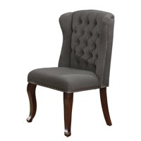 Gray Linen Fabric Upholstored Side Chair, Tufted style and Nail Head Trim (Single Chair)