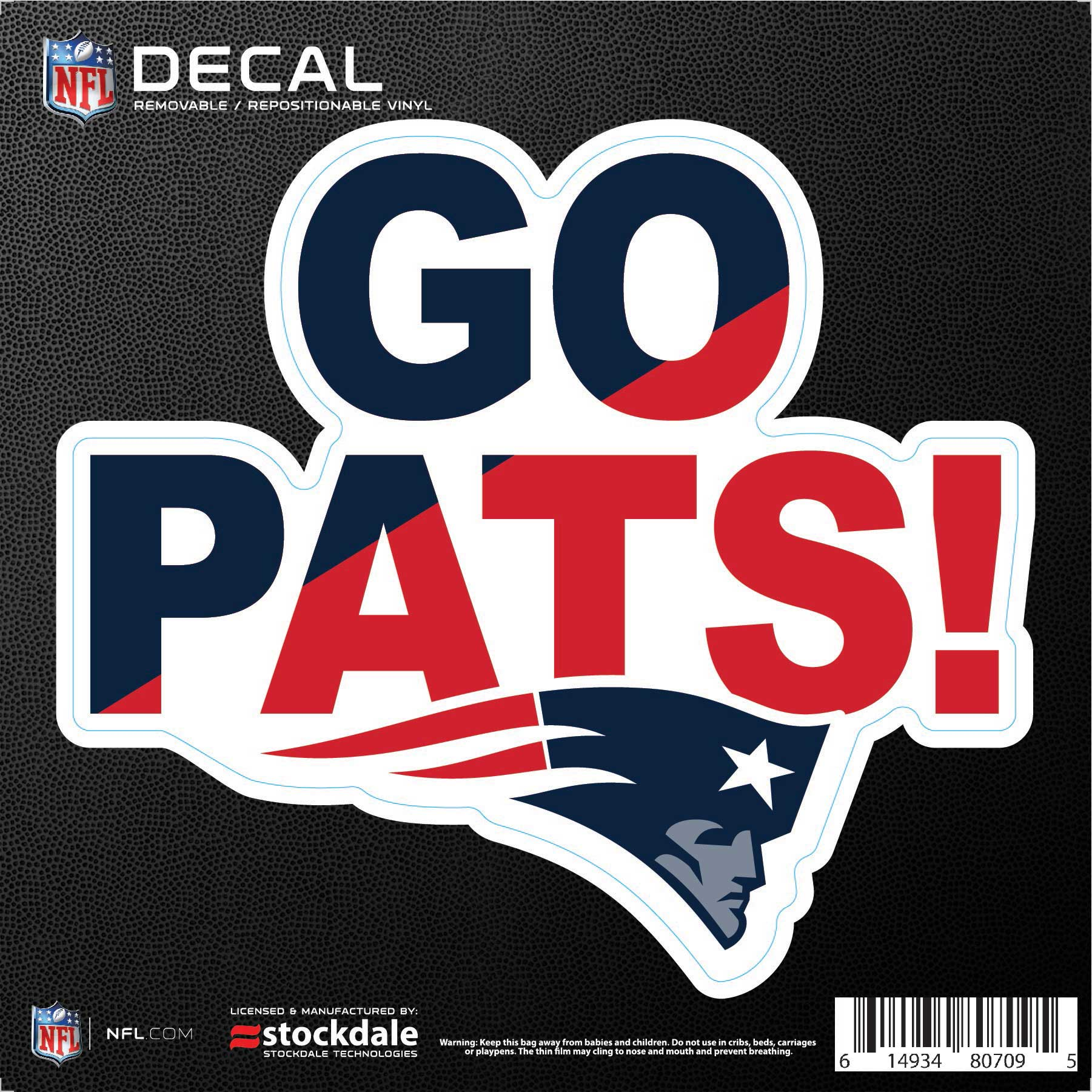 """New England Patriots 6"""" x 6"""" Xpression Full Color Repositionable Decal - No Size"""