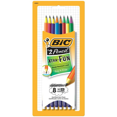 Black White Pencil Pinstripe - BIC Pencil Xtra Fun Graphite Pencil, #2 HB, 8-Count