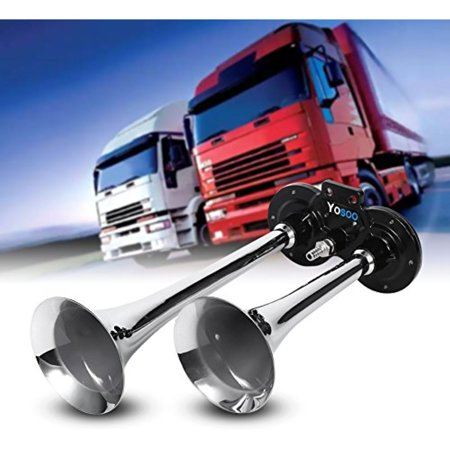 Air Horn Dual Trumpet Chrome, 12V 150db Super Loud Trumpet Air Horn Compressor For Car Boat Truck Lorry