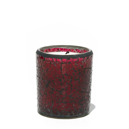 Set of 4 SoyVeda Jewel Ruby Scented Crackle Glass Votive Candles 6 oz.