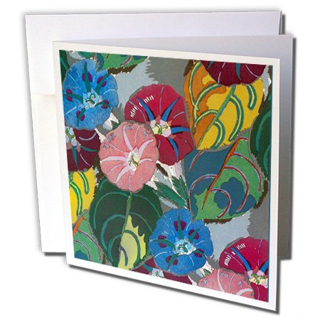 Image of 3dRose Art Deco Colorful Flowers, Greeting Cards, 6 x 6 inches, set of 6