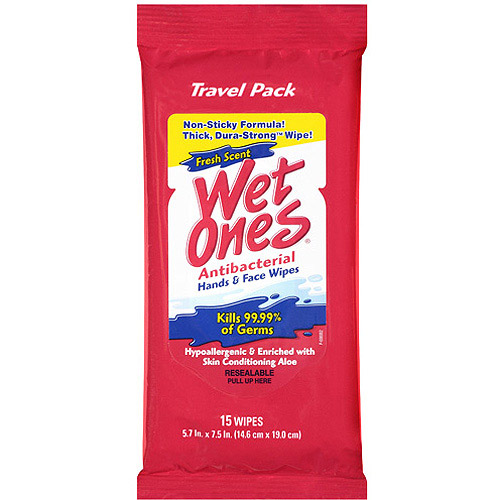Wet Ones Fresh Scent Antibacterial Hand & Face Wipes, 15 count