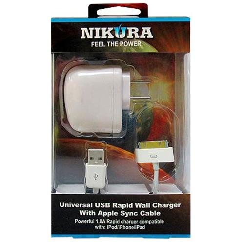 Nikura Ipod/ipad/Iphone Cell Phone USB Wall Charger with 30-pin Connector