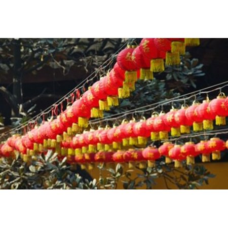 Red lanterns at a temple Jade Buddha Temple Shanghai China Canvas Art - Panoramic Images (36 x 24) - Jade Buddha Temple