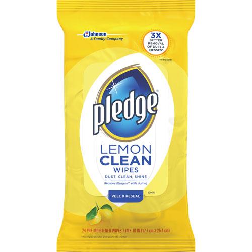 "Pledge Furniture Polish Wipes - Wipe - Lemon Scent - 7"" Width x 10"" Length - 24 / Packet - 12 / Carton - Y DVOCB728072CT"