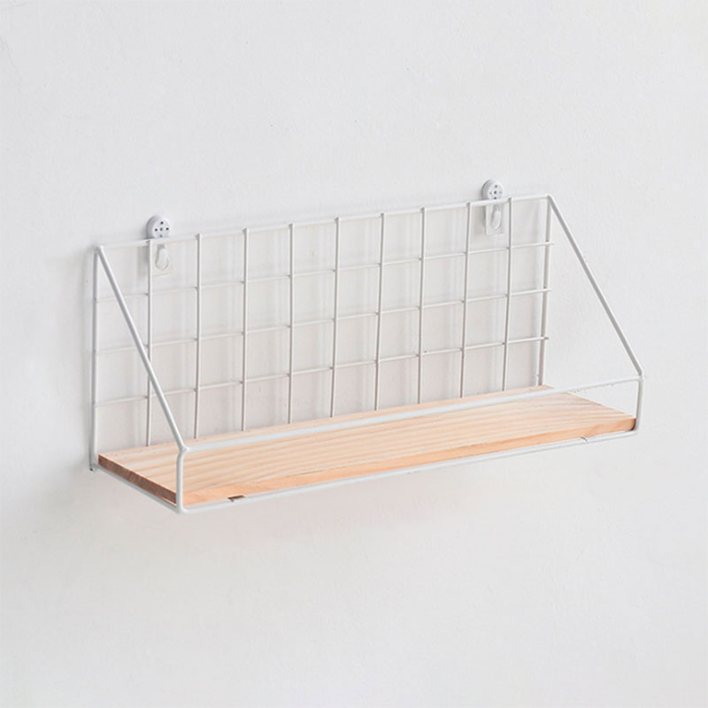 Details about  /Wall Mounted Organizer Basket Shelf Holder Metal Wire with Wooden Board