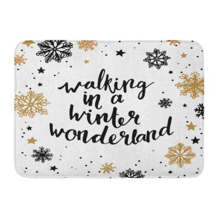 GODPOK Walking in Winter Wonderland Quote About Holiday Season Modern Calligraphy Phrase with Snowflakes Rug Doormat Bath Mat 23.6x15.7 inch