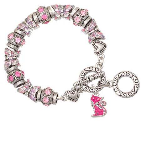Hot Pink Glitter Cat Pink Butterfly Bead Charm Bracelet - Hot Blue Bracelet Charms
