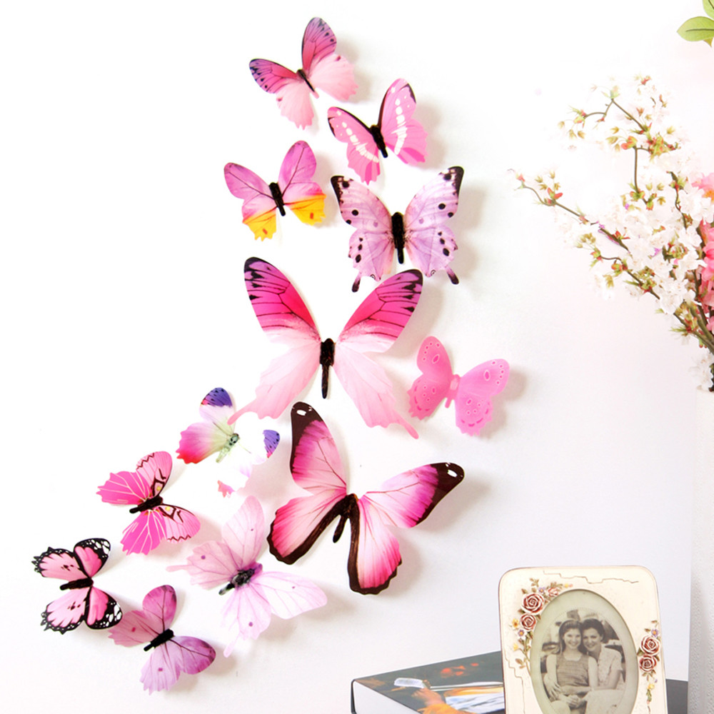 12pcs Decal Wall Stickers Home Decorations 3D Butterfly Rainbow Yellow