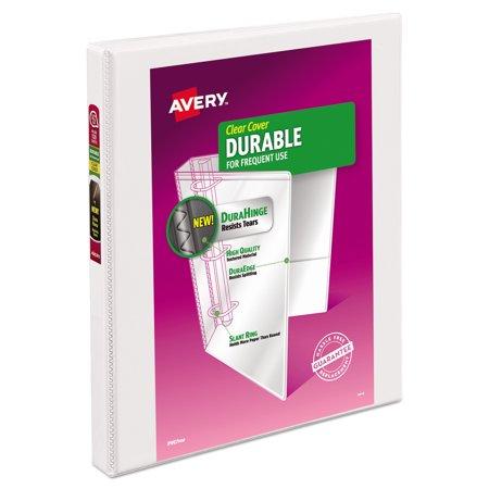 Avery R  Durable View Binder  1 2   Slant Rings  120 Sheet Capacity  Durahinge Tm   White  17002
