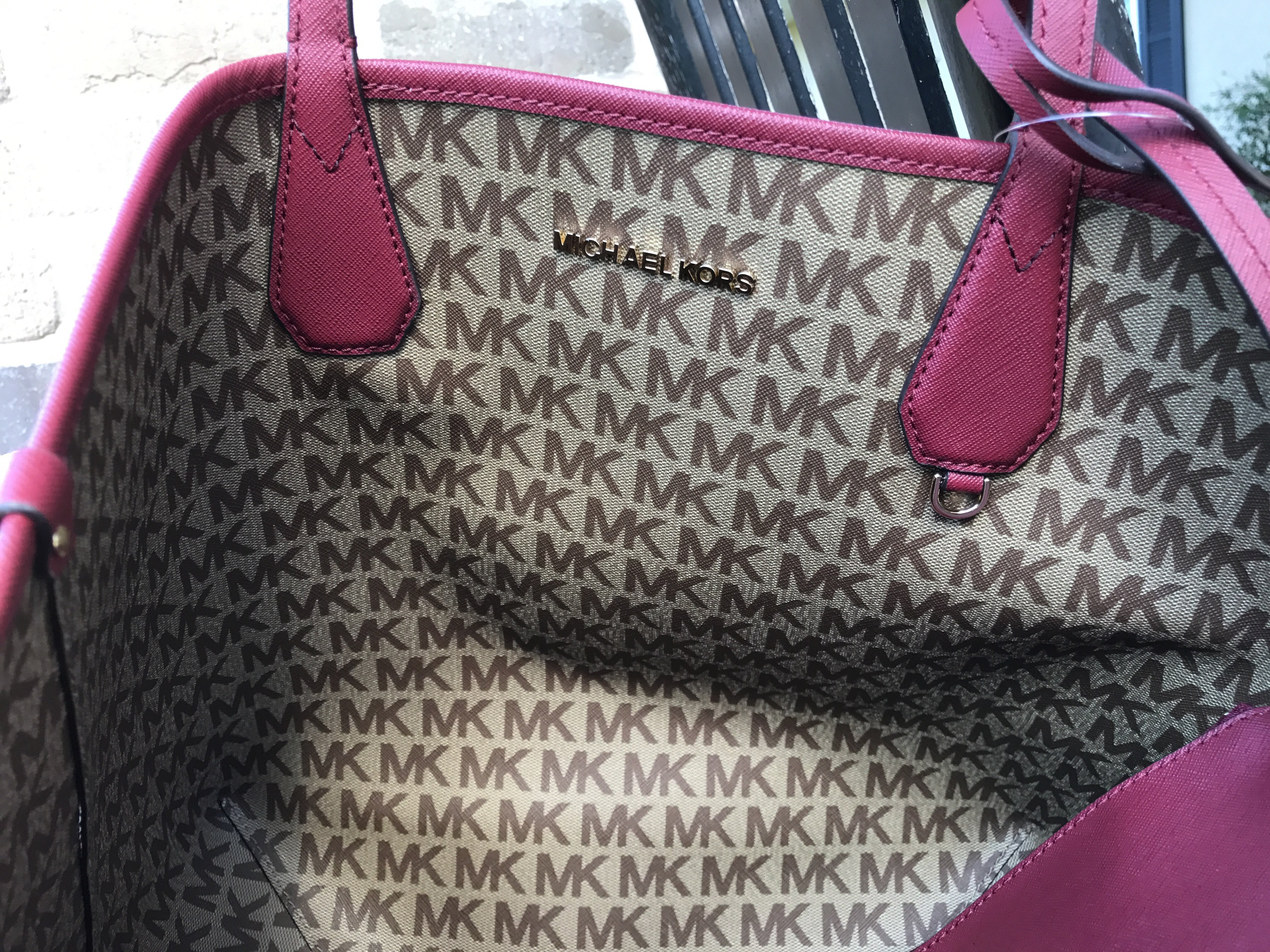 7a1313862d20 Michael Kors - NWT Michael Kors Candy Large Reversible Tote Brown Khaki  Signature Cherry Red - Walmart.com