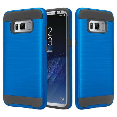Samsung Galaxy S8 Case, Slim Dual Layered[Shock Resistant] Hybrid Case Cover - Brush (Blu Hybrid)