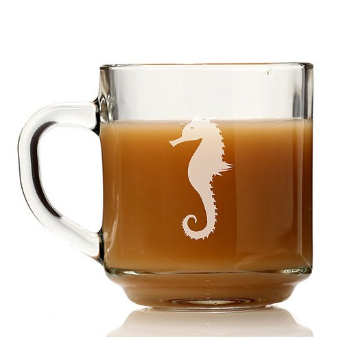 Chloe and Madison Seahorse Glass Coffee Mug (Set of 4)