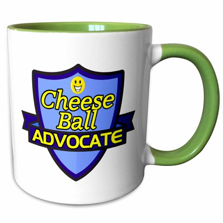 3dRose Cheese Ball Advocate Support Design - Two Tone Green Mug, 11-ounce (Halloween Cheese Ball Face)