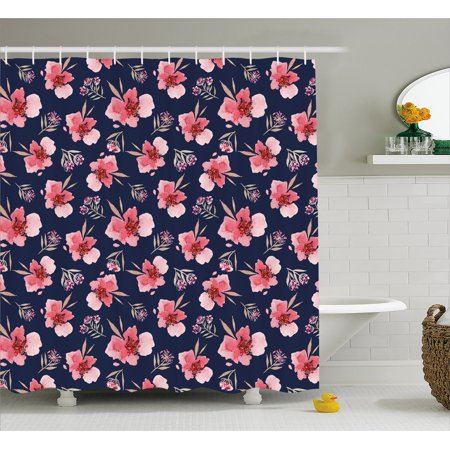 Watercolor Shower Curtain Nature Inspired Composition With Pink Garden Flora Vintage Artistic Petals Fabric