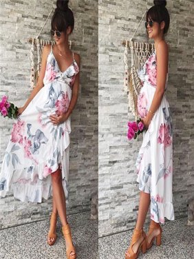 8116fdaa01747 Product Image Fashion Womens Mother Casual Floral Falbala Pregnant Dress  For Maternity Clothes