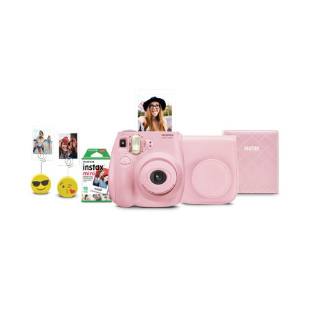 Fujifilm Instax Mini 7s Instant Camera w/ Matching Case, Film, Photo Album & Photo Holders - Light Pink
