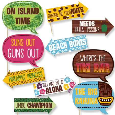 Funny Tiki Luau - Tropical Hawaiian Summer Party Photo Booth Props Kit - 10 Piece (Hawaiian Attire For Party)