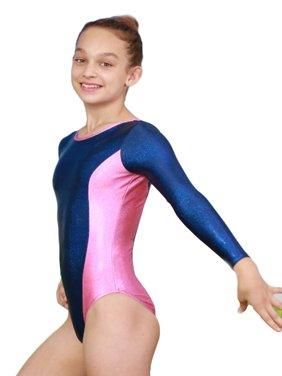 Girls Twilight Blue Pink Aries Mystique Gymnastics Long Sleeve Leotard